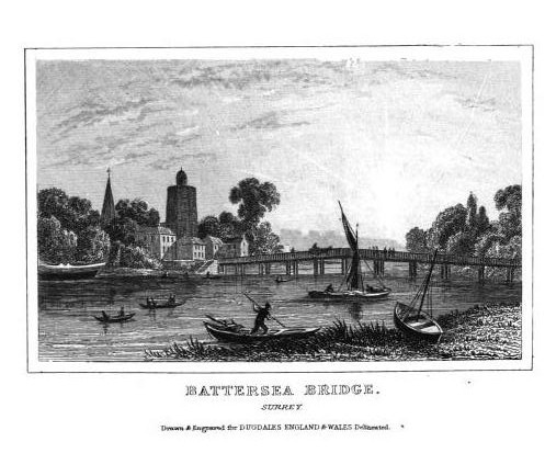 Battersea Bridge in the first half of the 19th century. The bridge was opened in 1771, and by the time it was demolished in 1885 it was the last surviving wooden bridge over the Thames in the London area.