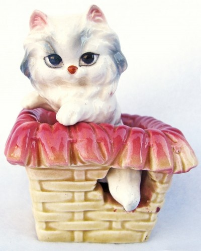 Vintage Salt and Pepper Shakers - Ceramic Kitten in a Basket Set