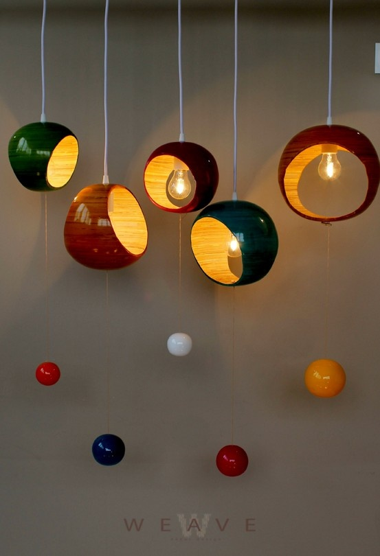 These fun Retro Bubble Pendants from Weave Decor Design look fantastic hung in a cluster or as a single pop of colour.