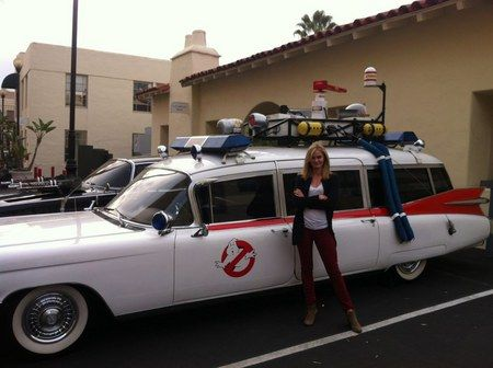 Ghostbusters 3 Casting Rumors Continue with Sara Paxton Ecto-1 Photo - Another young contender for this sequel poses next to the iconic ambulance, getting our sequel hopes up.