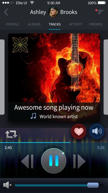 Beautiful player screen for a music app. Visit our site for more awesome UI designs!