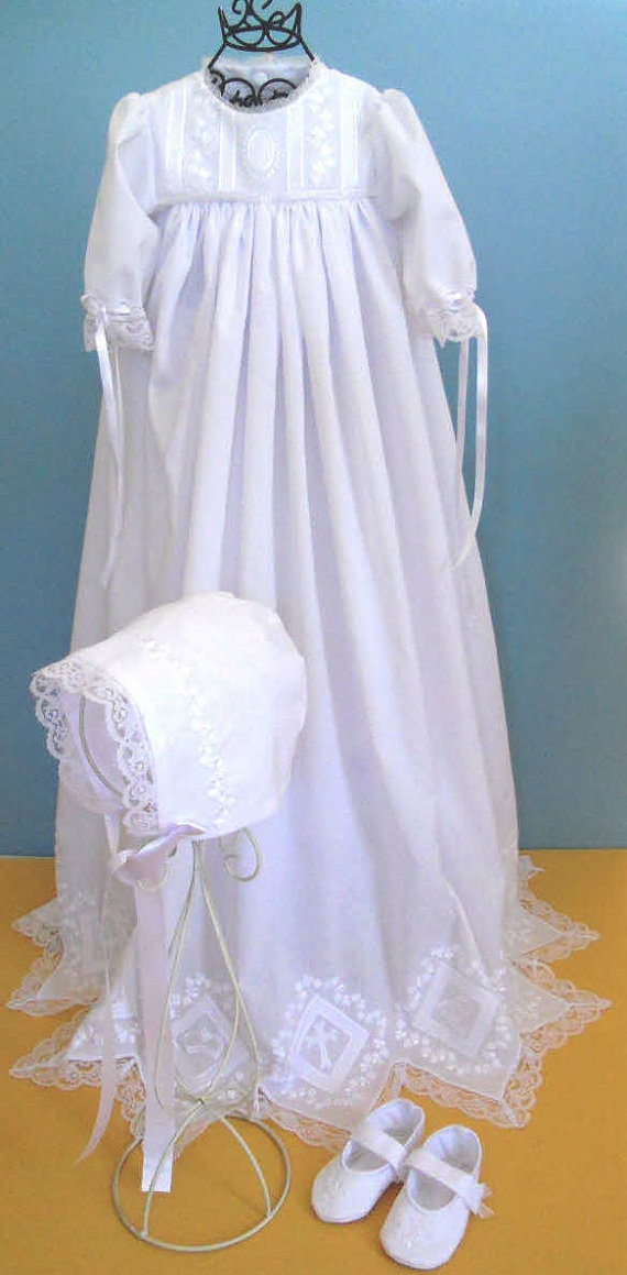 Made to order Christening Gown Slip Bonnet Shoes by SewniqBoutiq,