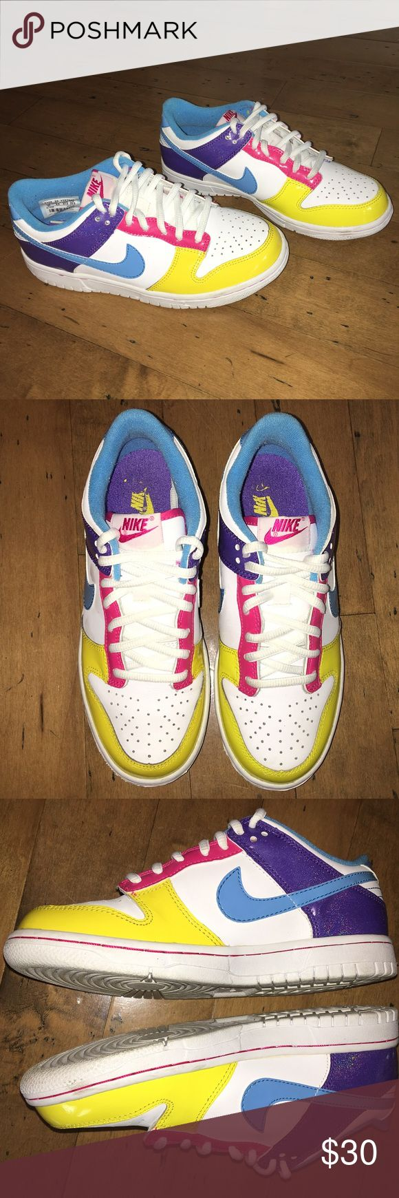 Nike Dunk SB Low Cut Yellow, pink, blue, and purple. Used only once or twice and never touched again. Excellent condition. Nike Shoes Sneakers