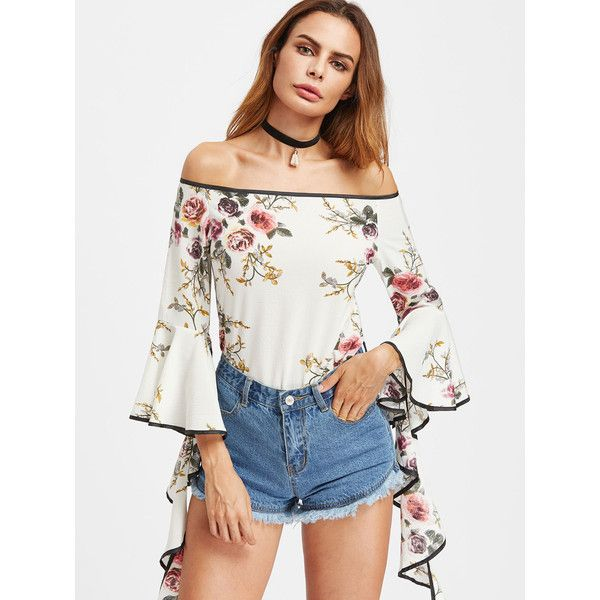 Bardot Floral Print Contrast Trim Flare Sleeve Top ($12) ❤ liked on Polyvore featuring tops, blouses, multicolor, white ruffle blouse, off shoulder blouse, white off shoulder top, floral blouses and white off shoulder blouse