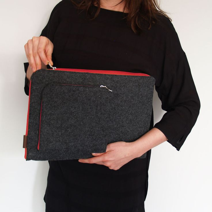 FELT LAPTOP COVER MacBook Sleeve dark gray felt red zipper all sizes laptop case, macbook air, pro, retina, tablets by PurolDesignBags on Etsy #laptop #cover #macbooksleeve #sleeve #macbook