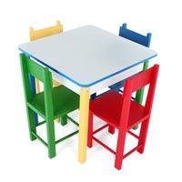 Mesa Infantil de Madeira com 4 Cadeiras R$589