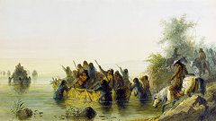 Native American Art - Bull Boating by Alfred Jacob Miller