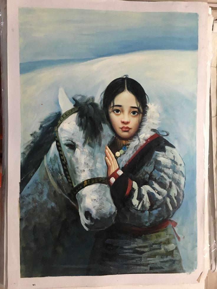 Китайцы портрет маслом ручной работы тибетский девушка белая лошадь ручная роспись гостиная центральной повесить картины маслом