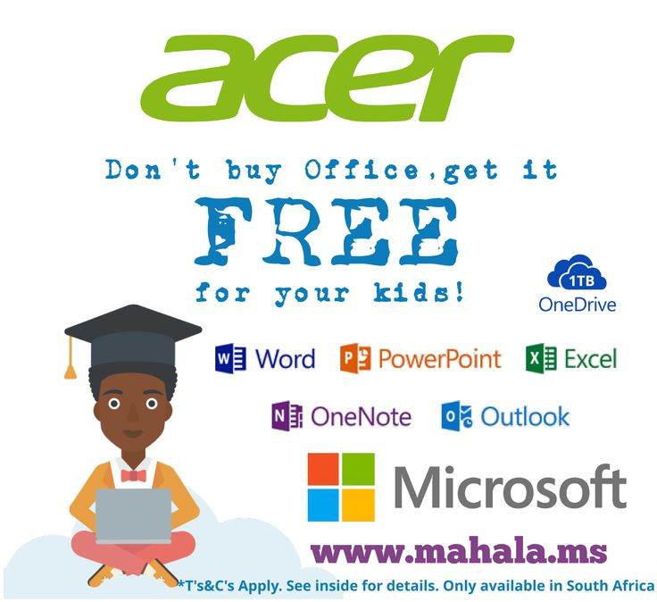New box labels for Acer Africa offering South African school learners (ages 8+) FREE access to Microsoft Office across all  devices .Check it out now!