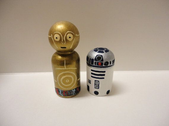 R2D2 and C3PO Star Wars Wooden Peg Dolls by maddasahatterr on Etsy, $20.00