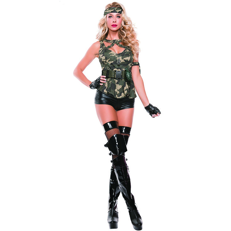 M-XL New Arrival Sexy Women Halloween Soldier Cosplay Uniform Sexy Policewomen Fancy Dress Army Green Police Cop Outfits A241602 #Affiliate