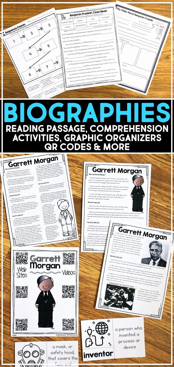 Biography Passages For 3rd Grade New Biographies Of Famous People For Elementary Students Reading Passages Biography Activity Biography Project Elementary [ 1428 x 680 Pixel ]
