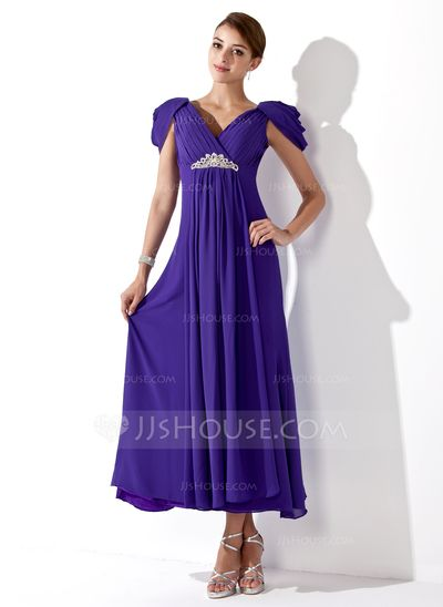 A-Line/Princess V-neck Ankle-Length Chiffon Bridesmaid Dress With Ruffle Beading (007013104)
