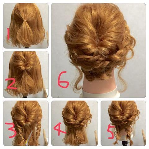 #ミディアムアレンジ #肩くらいの長さ ①トップの髪を結ぶ ②くるりんぱ→崩す ③サイドの髪を裏編み込みする→崩す ④編み込みした髪をくるりんぱの下でピンでとめる ⑤下の髪を2つに分けてそれぞれをねじる→ゴムで結ぶ ⑥④の三つ編みのしたでピンで固定→完成♡ #アレンジヘア#アレンジプロセス#解説
