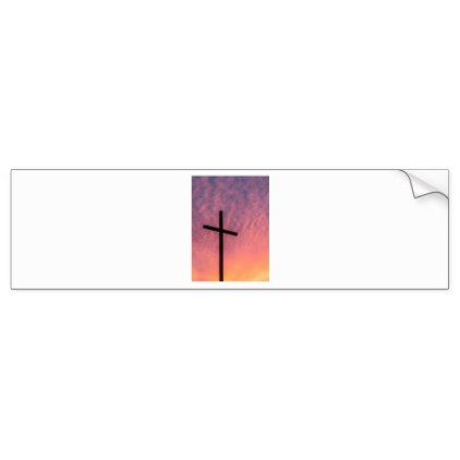 cross and sunset bumper sticker - christmas craft supplies cyo merry xmas santa claus family holidays