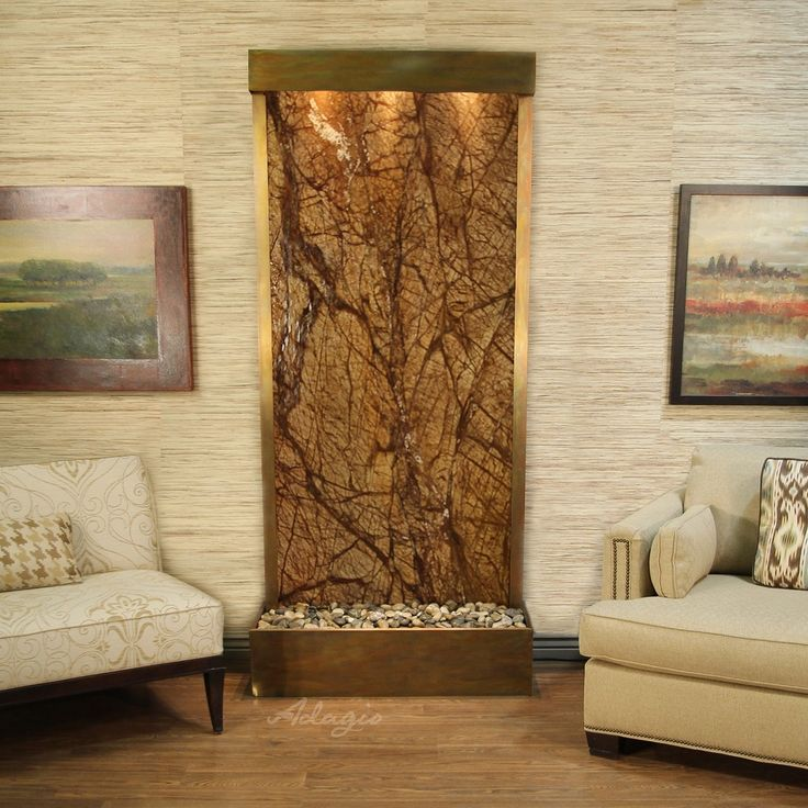 Adagio Tranquil River Fountain - Flush Mount - Rustic Copper - Choose Options (Green Marble - Marble - Copper)