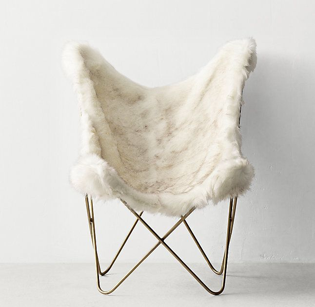 Tye Arctic White Mink Exotic Faux Fur Butterfly Chair - Light Aged Brass $269, member $201