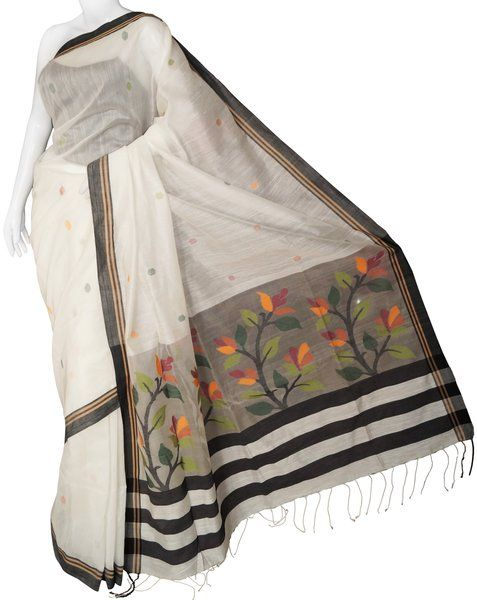 Bengal Cotton Handloom White Saree with Blouse