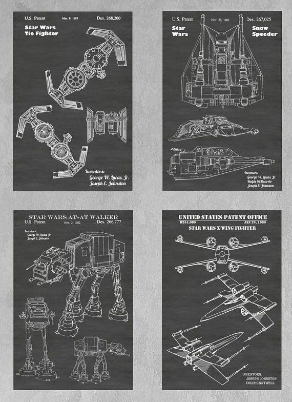 Original Star Wars Vehicles Patent Print Set Of 4 Tie Fighter