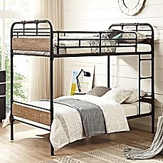 image of Walker Edison Rustic Industrial Twin-Over-Twin Bunk Bed
