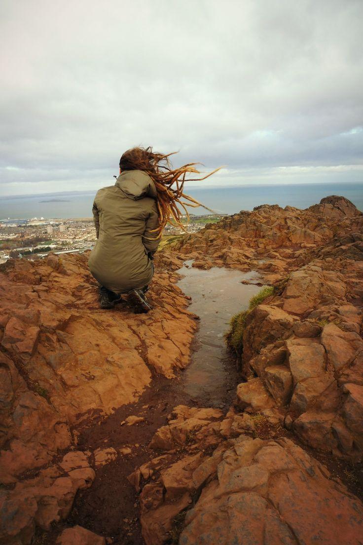 Windy Arthurs seat in Edinburgh, Scotland #girl #dreadlocks #travelling #Scotland #Edinburgh #Arthurs #Seat #nature #hike #rocks #beautiful #view #wind