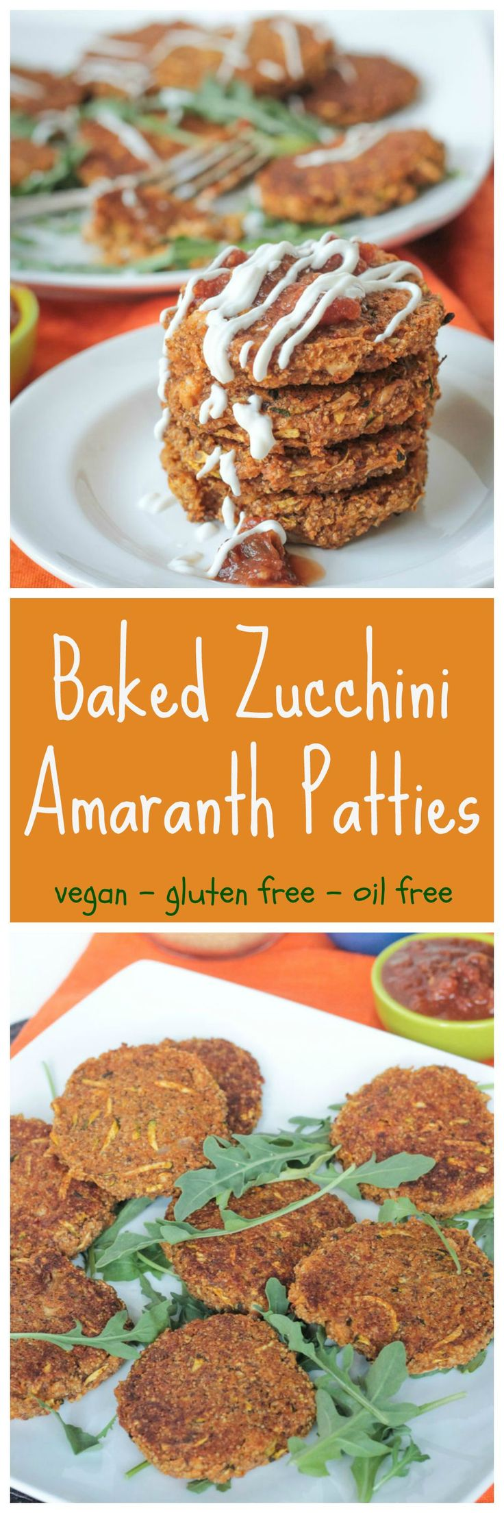 Baked Zucchini Amaranth Patties - crispy on the outside and creamy on the inside, these #glutenfree #oilfree patties are high in protein and need only 30 minutes to bake. A great way to use up your summer bounty of #zucchini too! The perfect #weeknightmeal! #vegan #dairyfree #amaranth #meatlessmonday #cleaneating