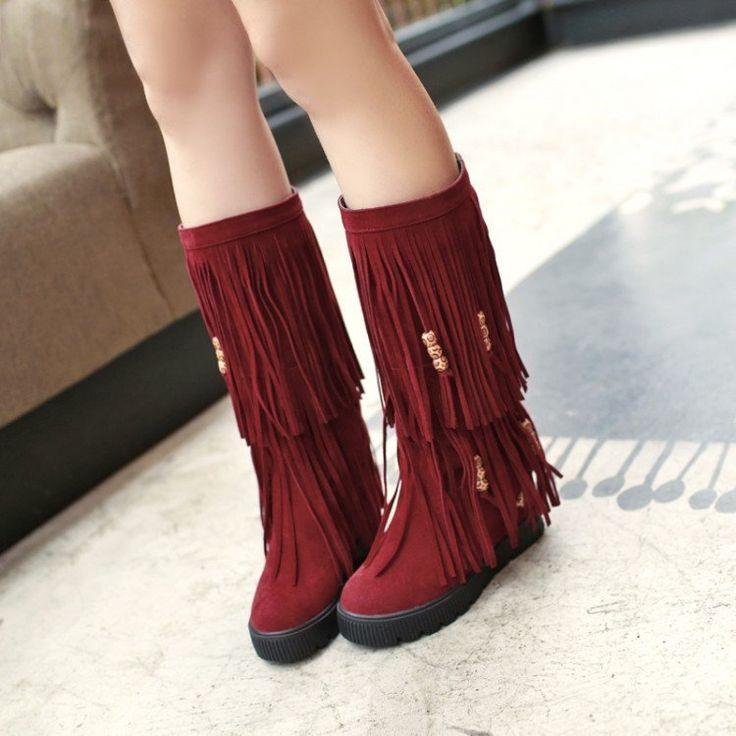 Double Tassel Beads Women's Mid Calf Boots 6276