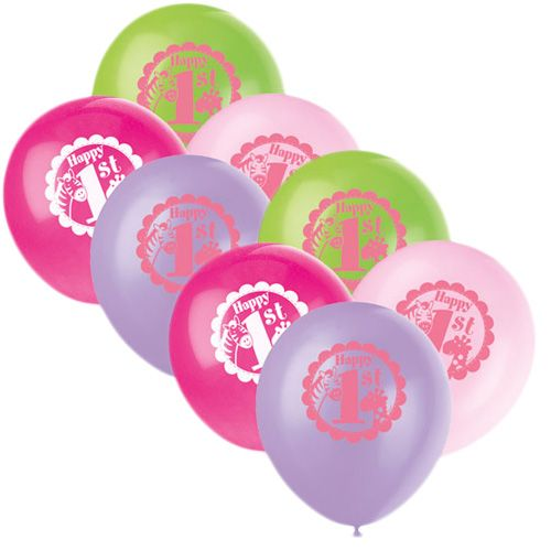 1-års Kalas Safari Rosa Ballonger - Partyhallen.se