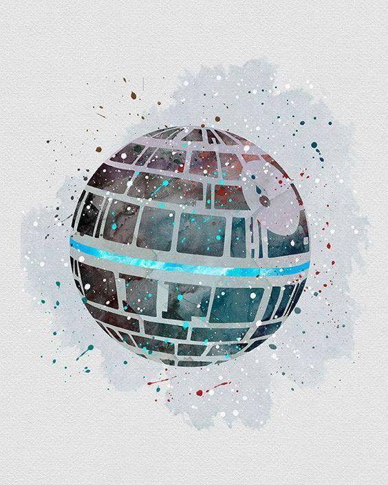 Death Star Star Wars Watercolor Art - VividEditions: