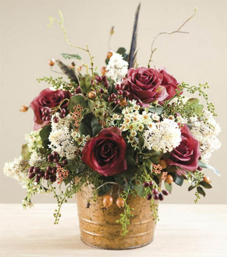 Rose wedding centerpiece gold flowers from