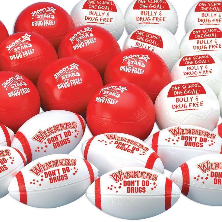 Drug Free Mini Sports Ball Assortment Pack Red ribbon