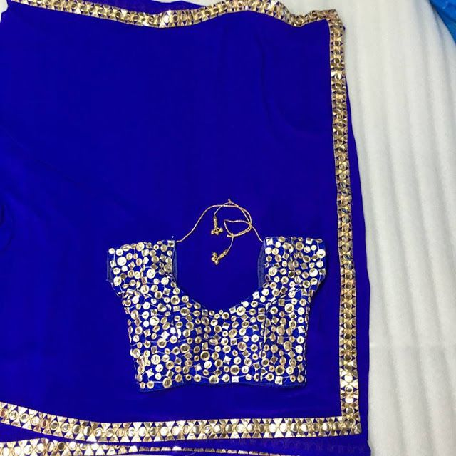 Georgette saree with Ready made mirror work Blouse | Buy Online Sarees | Elegant Fashion Wear