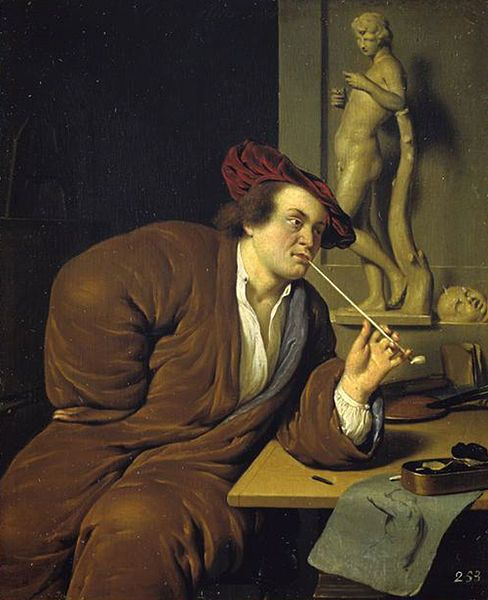 Ян Мирис, Jan van Mieris (1660 — 1690) — Автопортрет с трубкой (1688, Kunsthalle Hamburg)