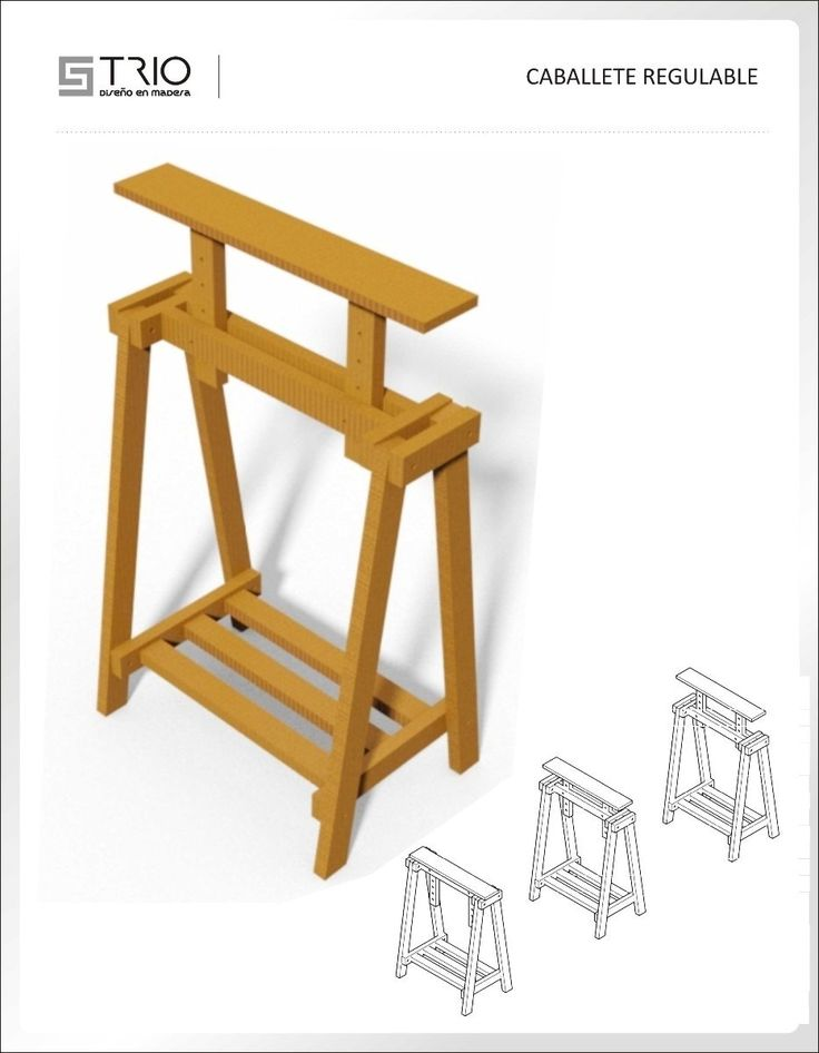 Caballete de madera regulable caballetes pinterest for Caballetes de madera para mesas