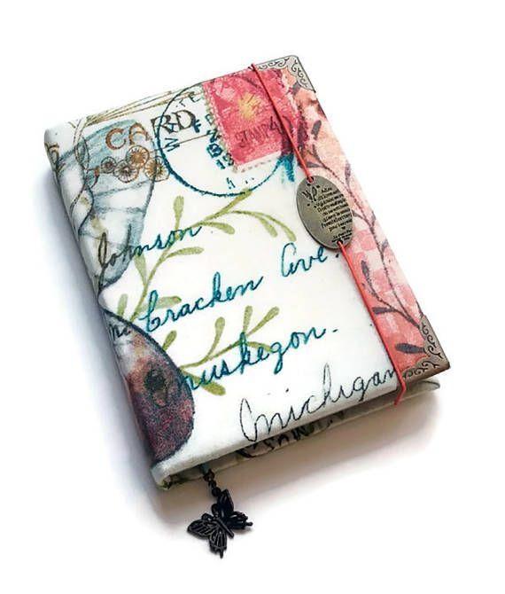Notebook Fabric Covered A6  Textile NotebookAntiqued Coffee Paper Blank Pages Writing PadVintage Style Journal Secret Diary