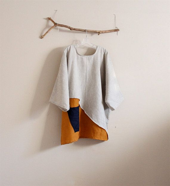 reserved for Sandy only made to order over size eco linen mix and autumn gold linen pin tuck tunic