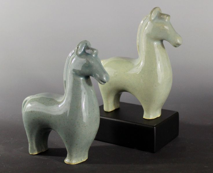 Jon Loer, 2014, stoneware slip cast horses with celadon glaze fired in a reduction atmosphere