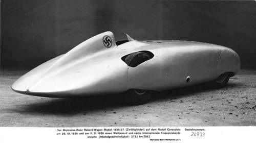 The Mercedes-Benz W125 Rekordwagen was an experimental, high-speed automobile produced in the late 1930s. The streamlined car was derived from the 1937 open-wheel race car Mercedes-Benz W125 Formel-Rennwagen, of which also a streamlined version was raced at the non-championshipAvusrennen inBerlin.