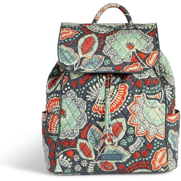 Vera Bradley Drawstring Backpack in Nomadic Floral ($98) ❤ liked on Polyvore featuring bags, backpacks, nomadic floral, white floral backpack, backpacks bags, white backpack, floral backpack and draw string backpack