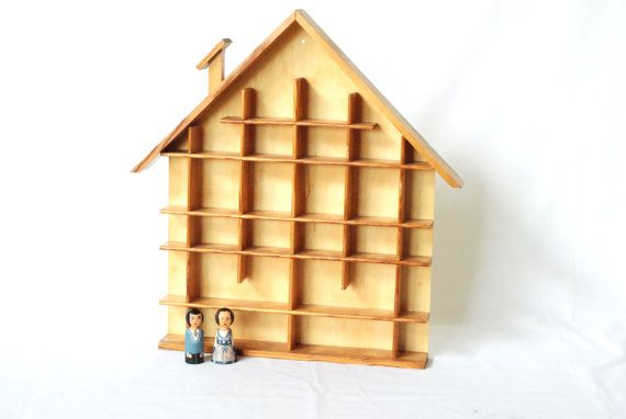 WOODEN DISPLAY CASE Swiss House Shaped Shelf by CurialVintage