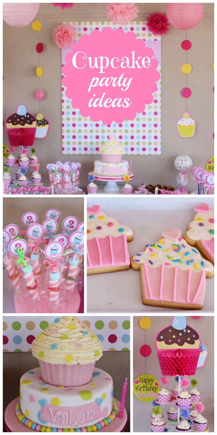What a cute cupcake themed girl birthday party with fun decorations, cake and treats!  See more party planning ideas at CatchMyParty.com!