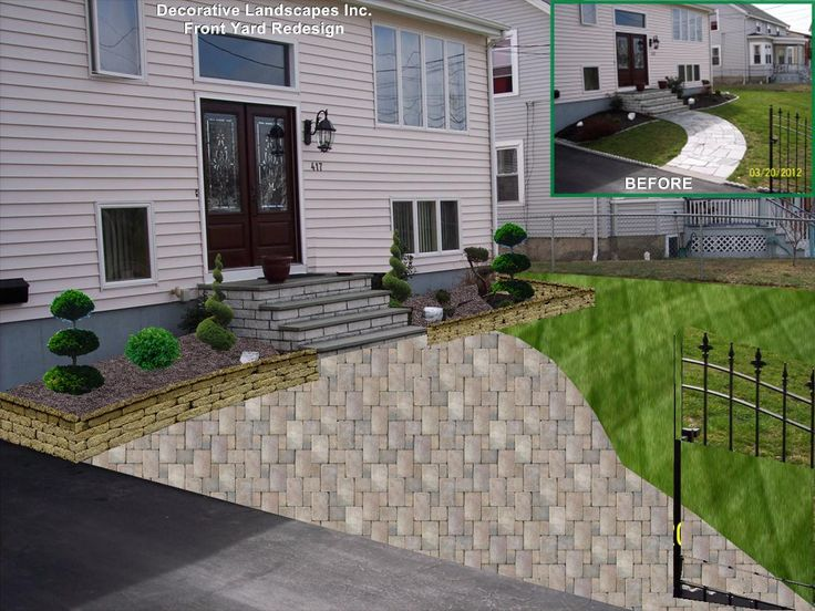 Front Yard Landscape Remodel With Plants, Retaining Wall And Walkway