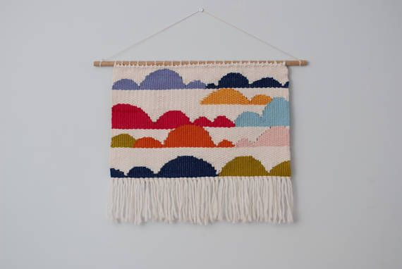 Large Colourful Cloud Wall Weaving Loom Wall Hanging