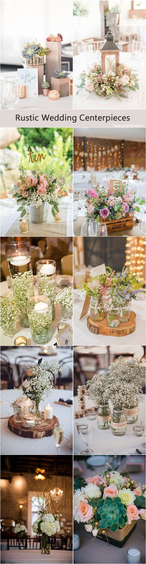 Wedding trends - Rustic wedding centerpiece ideas / http://www.deerpearlflowers.com/rustic-wedding-details-and-ideas/