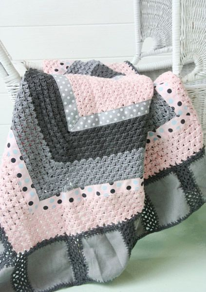 Crochet Baby Blanket - pink & grey. Fabric edging and ribbon strips...