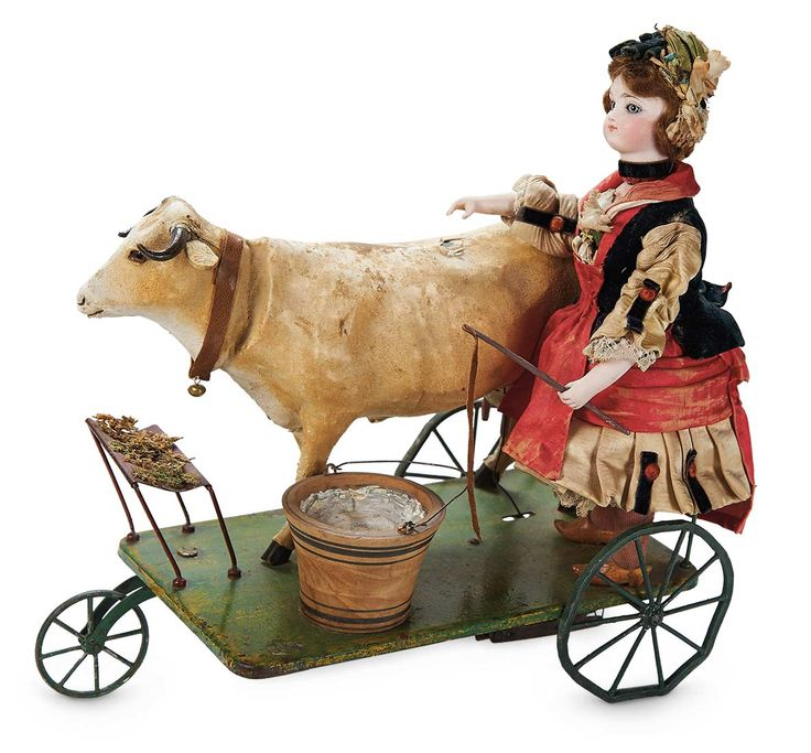 """The Lifelong Collection of Berta Leon Hackney: 345 French Mechanical Toy """"Milkmaid Bringing Home the Cow"""" by Gustav Vichy"""
