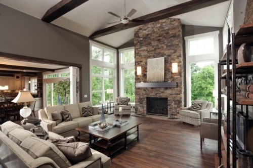 Room color: Wall Colors, Stones Fireplaces, Idea, Window, Living Rooms Design, Custom Home, Contemporary Living Rooms, Families Rooms, Wood Beams