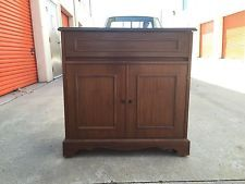 antique mid century rolling bar locking liquor cabinet walnut 1950s