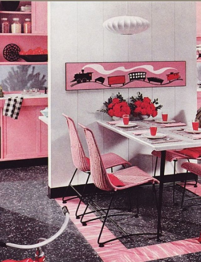 1956 kitchen in pink flooring ad by armstrong linoleum - Linoleum Living Room 2015