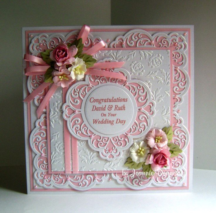 Wedding Day Card using dies from Creative Expressions / Sue Wilson, Frames & Tags Collection - Maggie, Camellia Complete Petals - Leaves and the Wild Roses Embossing Folder.